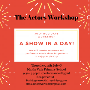 School Holidays Actors Workshop